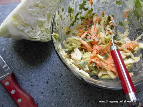 I may be too lazy to make my own mayo, but I'm not too lazy to make my own coleslaw. Huh.