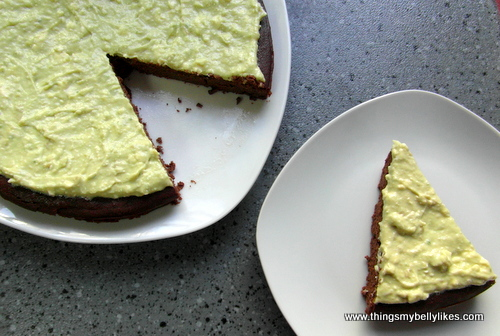 avocado frosting + chocolate cake = one happy belly