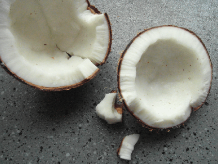 coconut flour is the white meat of the coconut, dried and ground to a fine consistency