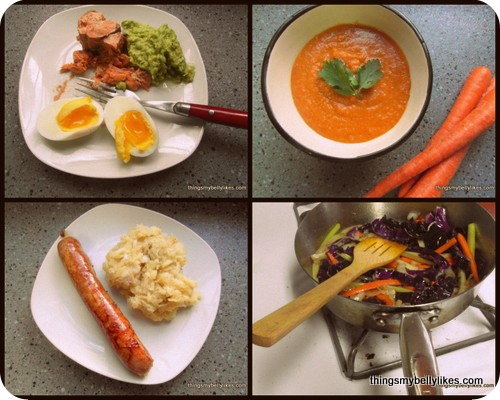 some Whole30 meals: clockwise salmon, guacamole & egg; carrot & cassava soup; veggie stir-fry; bratwurst and mustard mash
