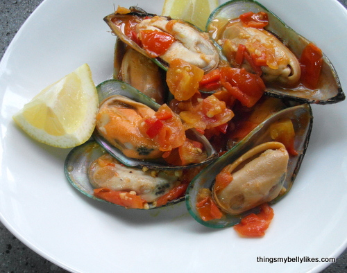I used greenshell half mussels from New Zealand