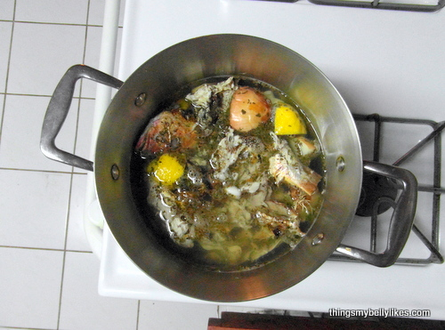 making the fish stock
