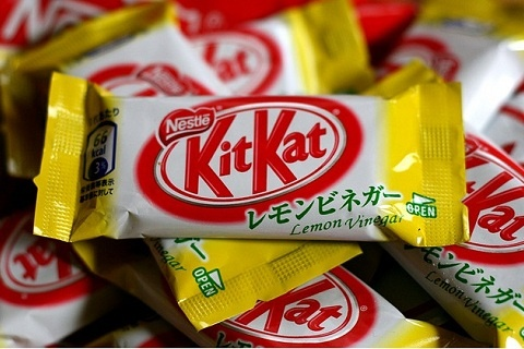 I found this on pinterest - a lemon vinegar kitkat (source). Needless to say, I do not condone putting vinegar in confectionery.