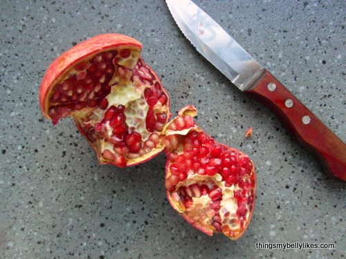 if you can scratch the skin with your fingernail and it gives to gentle pressure, your pomegranate is perfectly ripe