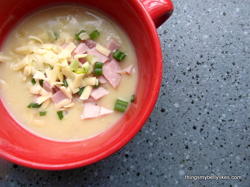 yeah, that's ham instead of bacon  - this is second-day soup and we'd run out of bacon at this point