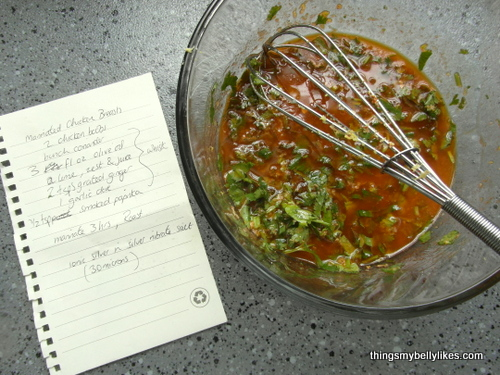 the marinade, and my notes